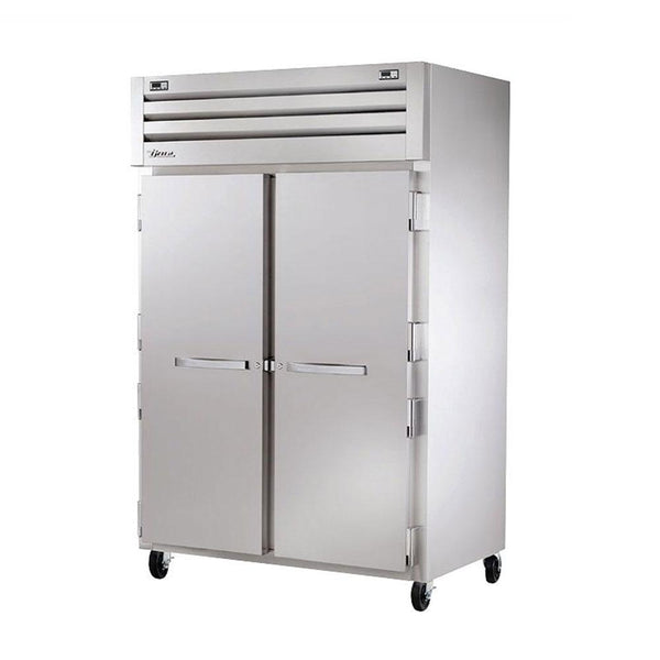 "True STR2DT-2S 52"" Reach-In Two Section Solid Swing Door Dual Temperature Refrigerator / Freezer"