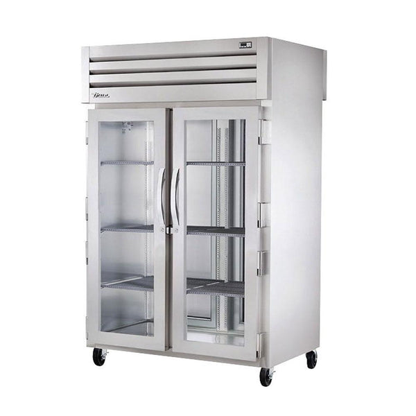 "True STR2HPT-2G-2S 52"" Reach-In Pass-Thru Glass Front / Solid Rear Swing Door Holding Cabinet - 3000W"