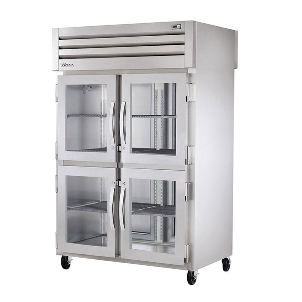 "True STR2RPT-4HG-2S-HC 52"" Reach-In Pass Thru Glass Half Front / Solid Rear Swing Door Refrigerator"