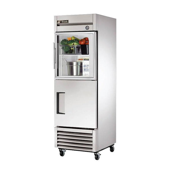 "True T-23-1-G-1-HC~FGD01 27"" Reach-In Half Glass / Half Solid Swing Door Refrigerator"