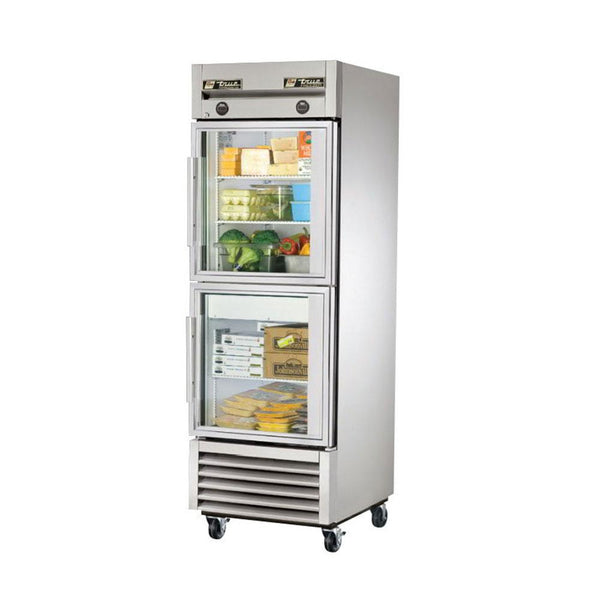 "True T-23DT-G-HC~FGD01 27"" Reach-In Glass Swing Door Dual Temperature Refrigerator / Freezer"