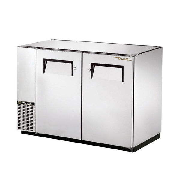 "True TBB-24GAL-48-S-HC 48"" Stainless Steel Solid Door Back Bar Refrigerator With Galvanized Top"