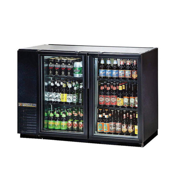"True TBB-24GAL-48G-HC-LD 48"" Glass Door Back Bar Refrigerator With Galvanized Top"