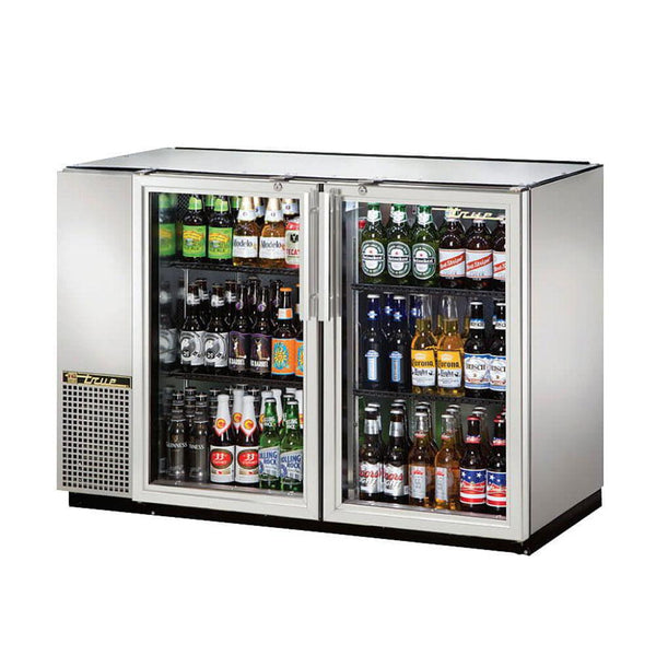 "True TBB-24GAL-48G-S-HC-LD 48"" Stainless Steel Glass Door Back Bar Refrigerator With Galvanized Top"