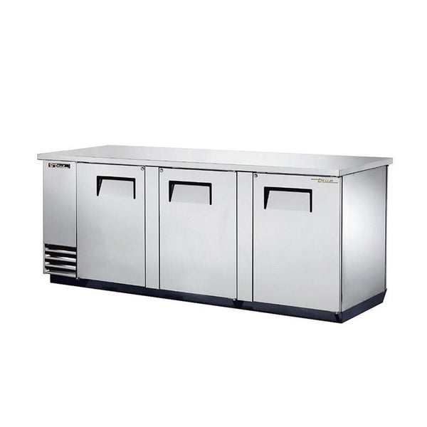 "True TBB-4PT-S 90"" Solid Swing Door Stainless Steel Pass-Thru Back Bar Cooler"