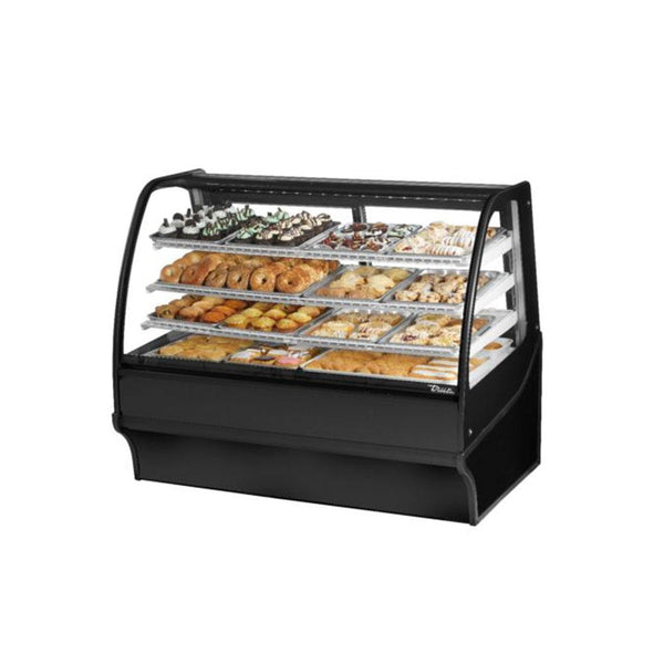 "True TDM-DC-59-GE/GE-B-W 59"" Curved Glass / Glass End Dry Case Display Merchandiser in Black"