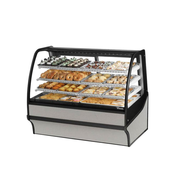 "True TDM-DC-59-GE/GE-S-S 59"" Stainless Steel Curved Glass / Glass End Dry Case Display Merchandiser"