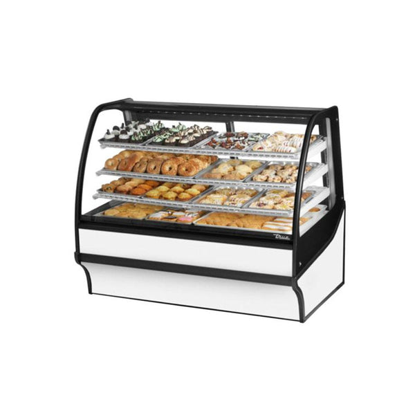 "True TDM-DC-59-GE/GE-S-W 59"" Stainless Steel Curved Glass / Glass End Dry Case Display Merchandiser"