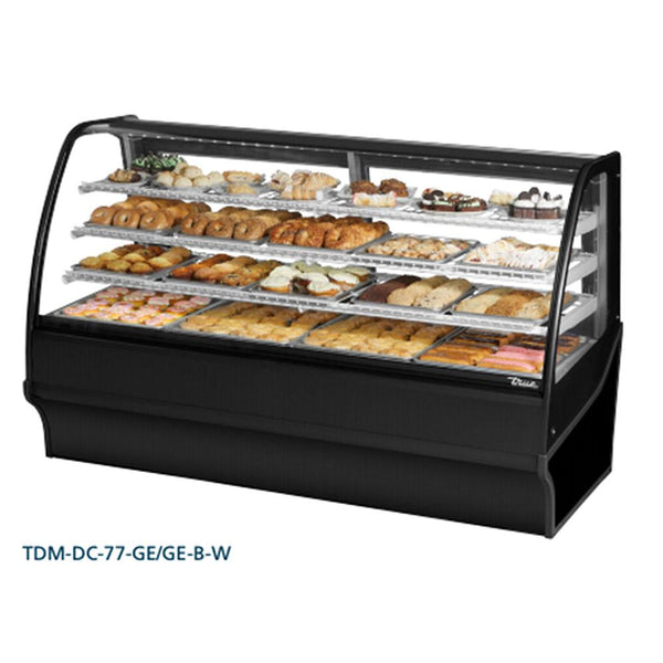 "True TDM-DC-77-GE/GE-B-W 77"" Curved Glass / Glass End Dry Case Display Merchandiser"