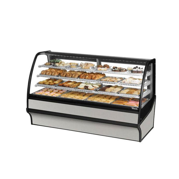 "True TDM-DC-77-GE/GE-S-S 77"" Stainless Steel Curved Glass / Glass End Dry Case Display Merchandiser"