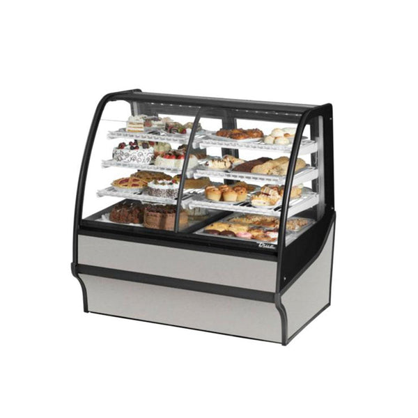 "True TDM-DZ-48-GE/GE 48"" Stainless Steel Curved Glass Dual Zone Refrigerated Bakery Display Case With Stainless Steel Interior"