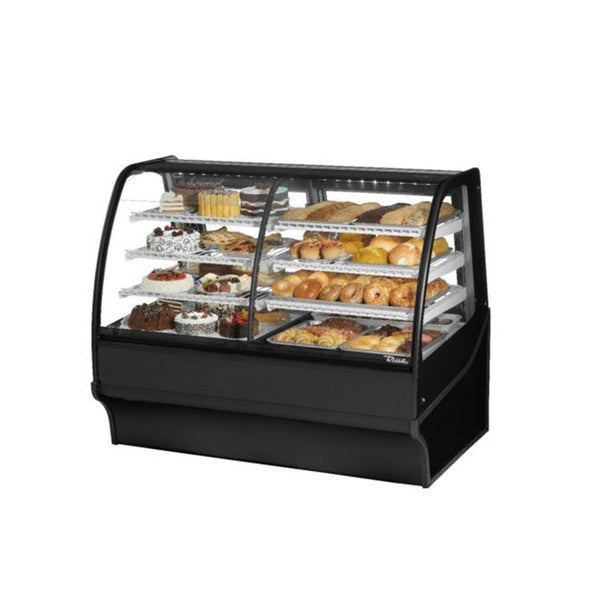 "True TDM-DZ-59-GE/GE 59"" Black Curved Glass Dual Zone Refrigerated Bakery Display Case"