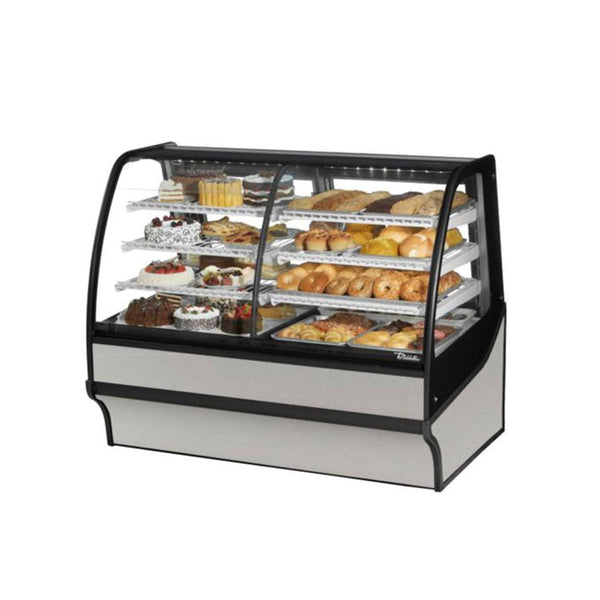 "True TDM-DZ-59-GE/GE 59"" Stainless Steel Curved Glass Dual Zone Refrigerated Bakery Display Case With Stainless Steel Interior"