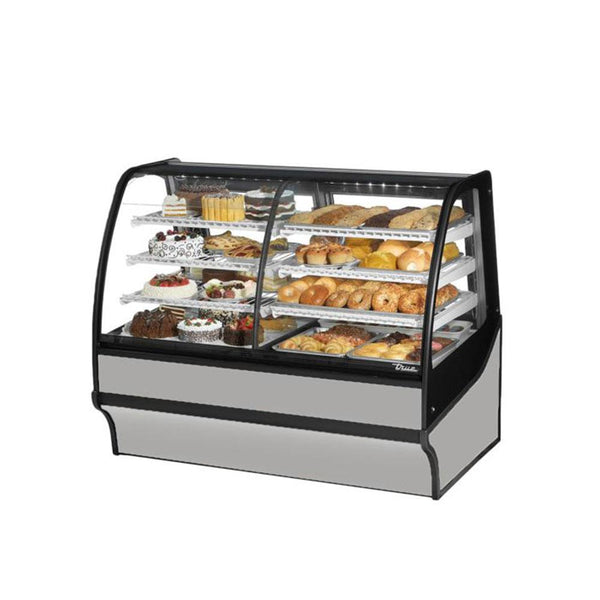 "True TDM-DZ-59-GE/GE 59"" Stainless Steel Curved Glass Dual Zone Refrigerated Bakery Display Case With White Interior"