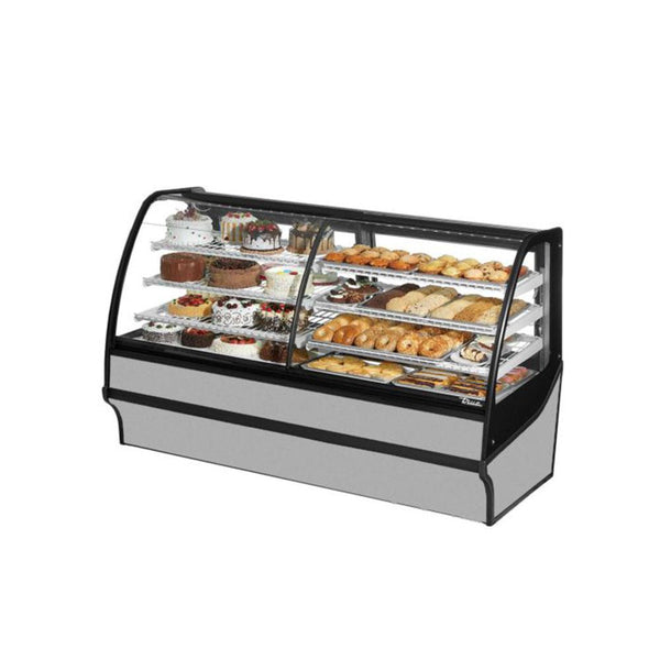 "True TDM-DZ-77-GE/GE 77"" Stainless Steel Curved Glass Dual Zone Refrigerated Bakery Display Case With White Interior"