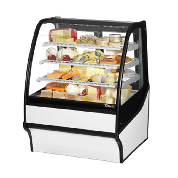 "True TDM-R-36-GE/GE 36"" Stainless Steel Curved Glass Refrigerated Bakery Display Case With White Interior"