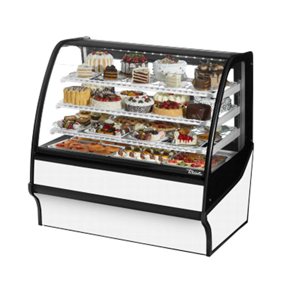 "True TDM-R-48-GE/GE 48"" Stainless Steel Curved Glass Refrigerated Bakery Display Case With Stainless Steel Interior"