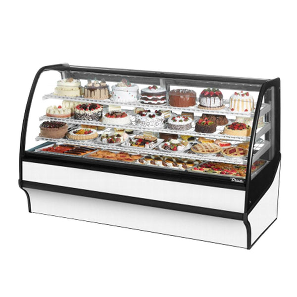"True TDM-R-77-GE/GE 77"" Stainless Steel Curved Glass Refrigerated Bakery Display Case With White Interior"