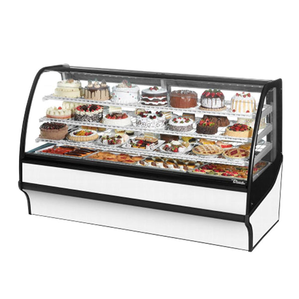 "True TDM-R-77-GE/GE 77"" White Curved Glass Refrigerated Bakery Display Case"