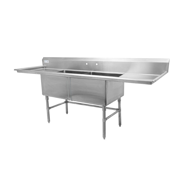 "Thorinox TDS-2424-RL24 Double sink with left and right drainboard (24"")"