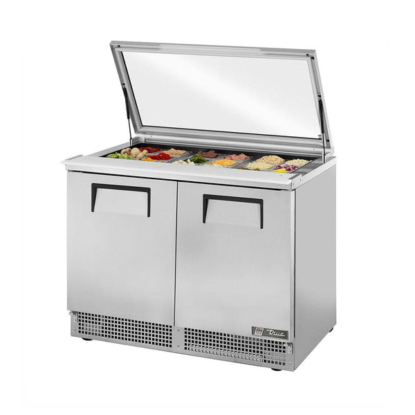 "True TFP-48-18M-FGLID 48"" 18 Pan Salad / Sandwich Refrigerated Prep Table with Glass Lid"
