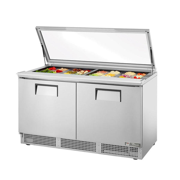 "True TFP-64-24M-FGLID 64"" 24 Pan Salad / Sandwich Refrigerated Prep Table with Glass Lid"