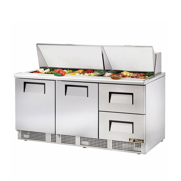 "True TFP-72-30M-D-2 72"" Mega Top 2-Door 2-Drawers Food Prep Table"