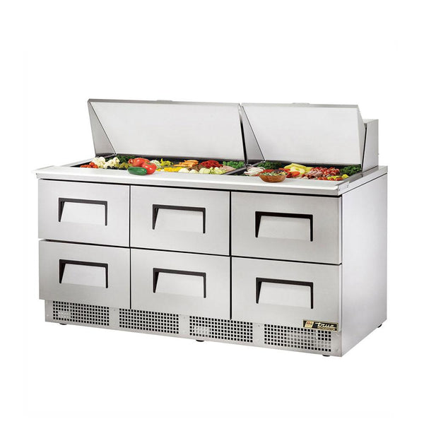 "True TFP-72-30M-D-6 72"" 30 Pan Salad / Sandwich Refrigerated Drawer Prep Table"