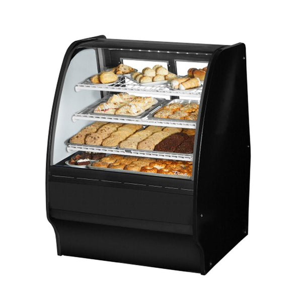 "True TGM-DC-36-SC/SC-B-W 36"" Curved Glass / Glass Slide Rear Door Dry Display Case with LED Lighting"