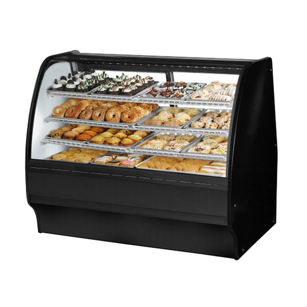 "True TGM-DC-59-SC/SC-B-W 59"" Curved Glass / Slide Glass Rear Door Dry Display Case with LED Lighting"