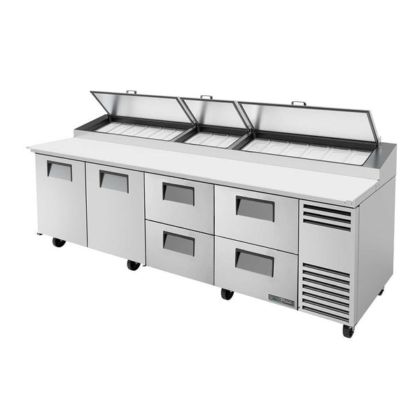 "True TPP-AT-119D-4-HC 119"" Refrigerated Pizza Prep Table With 2-Door And 4-Drawer"