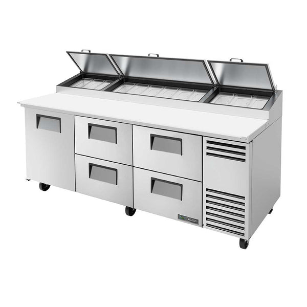 "True TPP-AT-93D-4-HC 93"" 4-Drawer 12 Pan Pizza Prep Table"