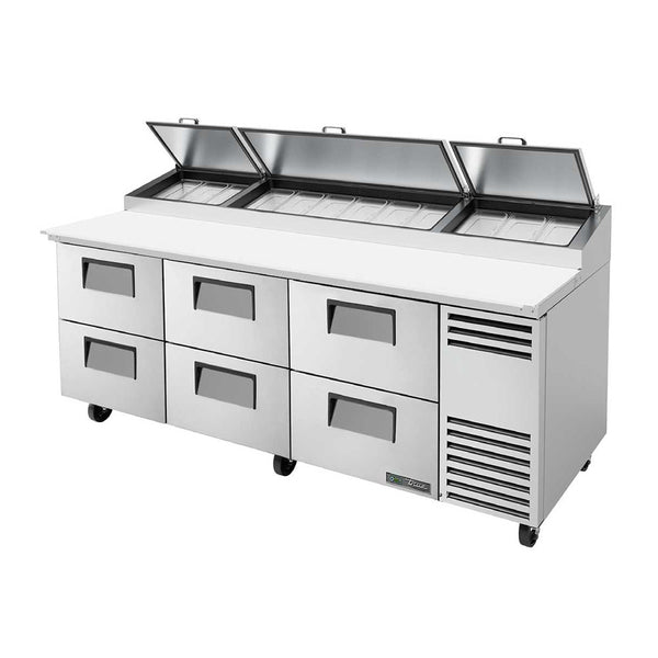 "True TPP-AT-93D-6-HC 93"" 6-Drawer Pizza Prep Table"