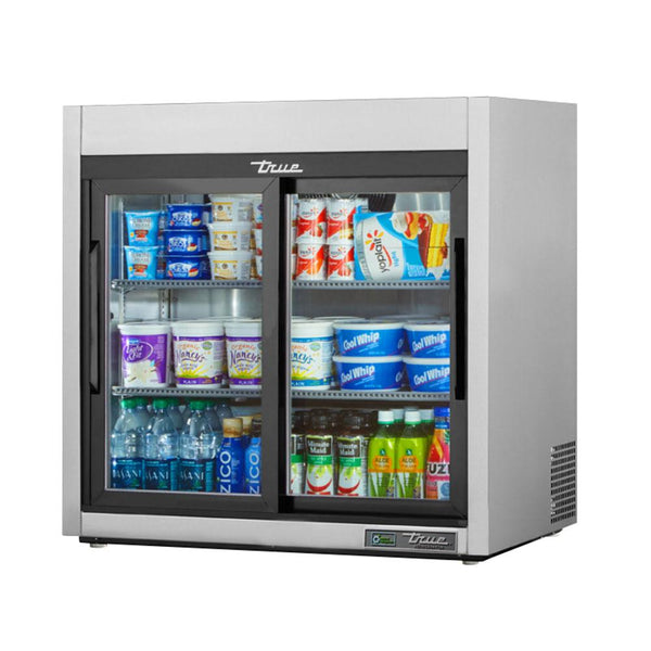 "True TSD-09G-HC-LD 36"" Reach-In Reach-In Glass Slide Door Countertop Refrigerator with LED Lighting"