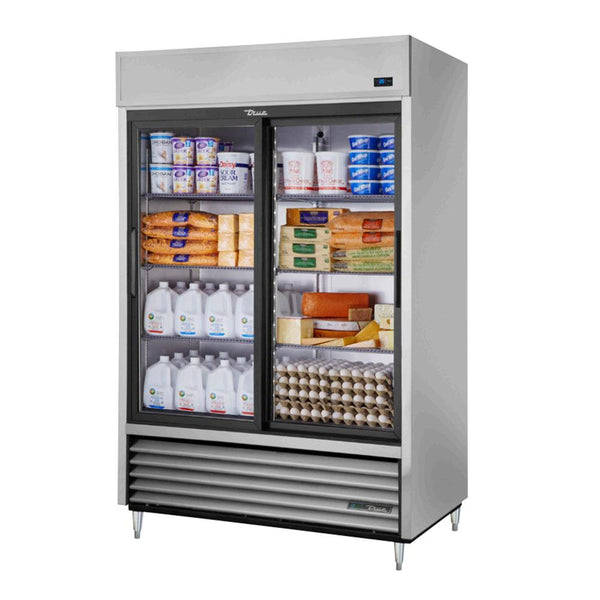 "True TSD-47G-HC-LD 55"" Reach-In 2 Glass Sliding Door Refrigerator"