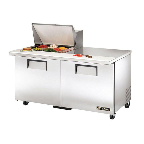 "True TSSU-60-12M-B-HC 60"" 12-Pan Mega-Top Solid Door Sandwich/Salad Refrigerated Prep Table"