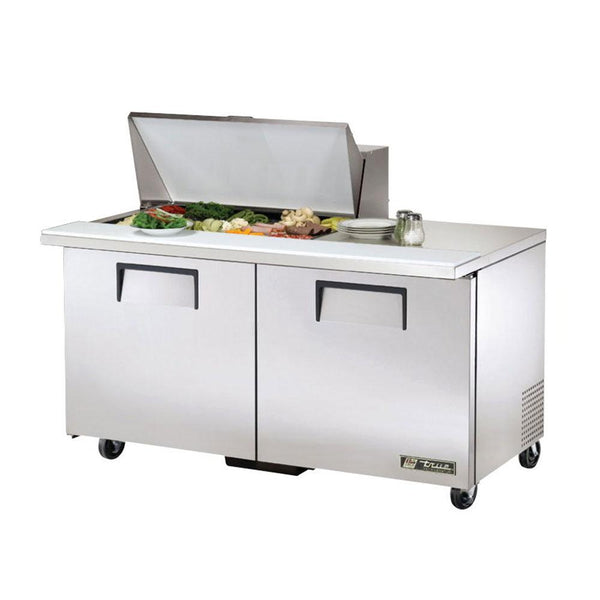 "True TSSU-60-15M-B-HC 60"" 15-Pan Mega-Top Solid Door Sandwich/Salad Refrigerated Prep Table"