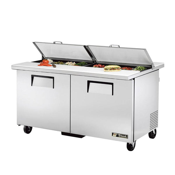 "True TSSU-60-16-DS-ST-HC 60"" 16-Pan Dual Sided Solid Door Sandwich/Salad Refrigerated Prep Table"