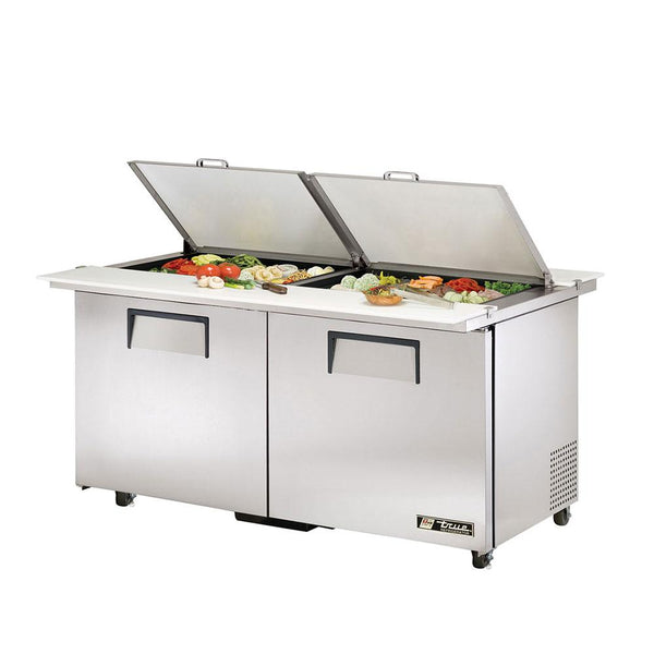 "True TSSU-60-24M-B-DS-ST-ADA-HC 60"" ADA Compliant Dual Sided Mega-Top Solid Door Sandwich/Salad Refrigerated Prep Table"