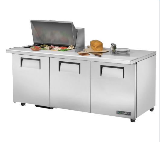 "True TSSU-72-12M-B-ADA-HC 72"" 12-Pan ADA Compliant Mega-Top Solid Door Sandwich/Salad Refrigerated Prep Table"