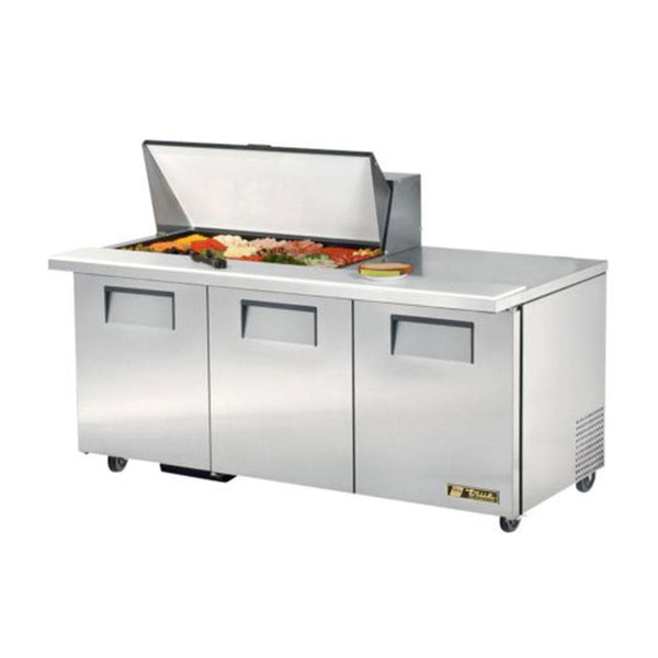 "True TSSU-72-18M-B-HC 72"" Mega-Top Solid Door Sandwich/Salad Refrigerated Prep Table"