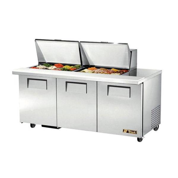 "True TSSU-60-24M-B-ST-HC 60"" 24 Pan Mega Top Salad / Sandwich Prep Table Refrigerator"