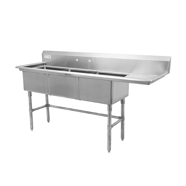 "Thorinox TTS-1818-R18 Triple sink with right drainboard (18"")"