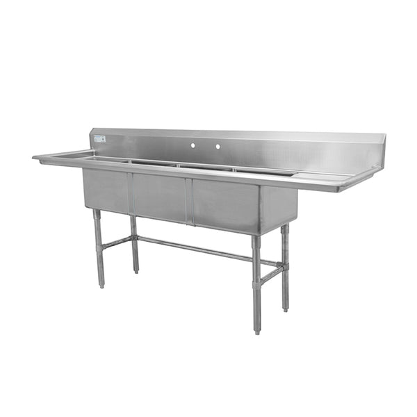 "Thorinox TTS-1818-RL18 Triple sink with left and right drainboard (18"")"
