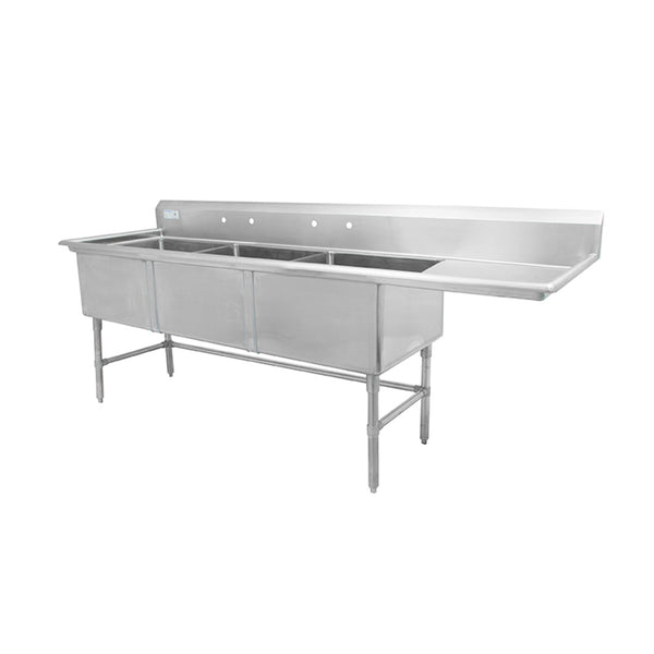 "Thorinox TTS-2424-R24 Triple sink with right drainboard (24"")"