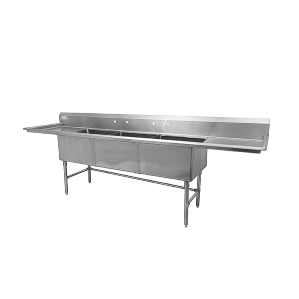 "Thorinox TTS-2424-RL24 Triple sink with left and right drainboard (24"")"