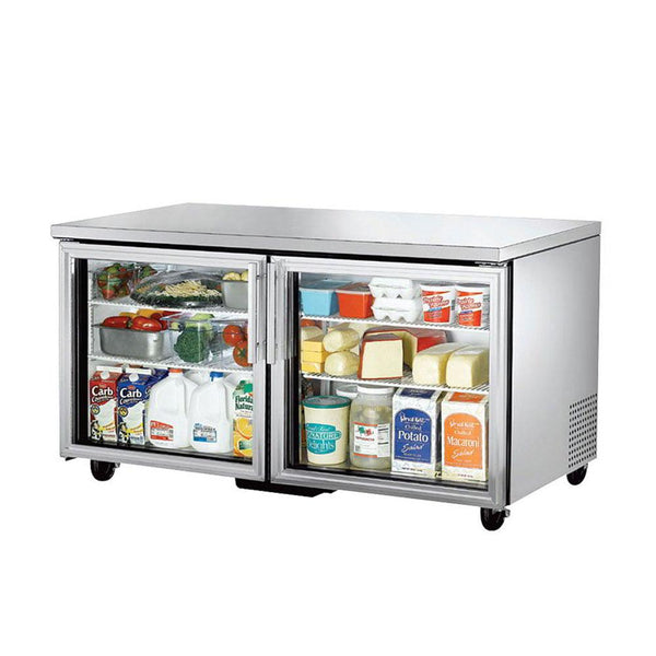 "True TUC-60G-HC~FGD01 60"" Glass Door Undercounter Refrigerator"