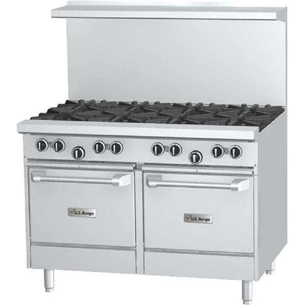 "US Range U48-6G12LL NG 6-Burner 48"" Gas Range With Right Hand 12"" Griddle and w/2 Space Saver Ovens - 274,000 Btu"