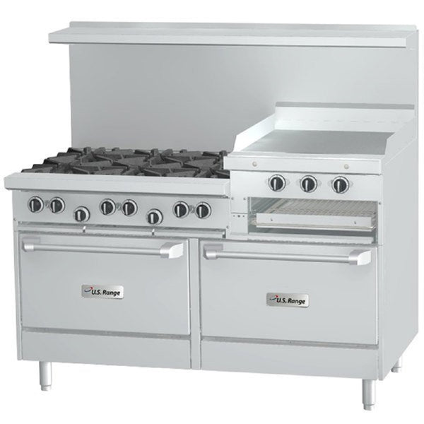 "U.S. Range U60-6R24RR Natural Gas 6 Burner 60"" Gas Range with 24"" Raised Griddle / Broiler and 2 Standard Ovens - 301,000 BTU"