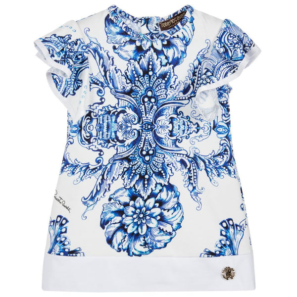 Roberto Cavalli Girls Tile Printed Blue and Ivory Dress